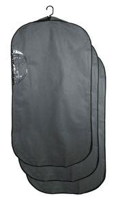 Kleidersack 3er Set, mit Sichtfenster, 60x114x10 cm, grau