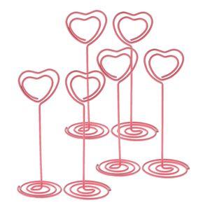 6pcs Herzförmige Hoch Tischkartenhalter Fotohalter Metall Kartenhalter Hochzeit Platzkartenhalter Memohalter