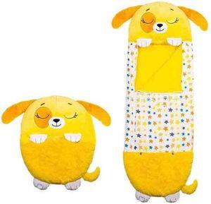 Happy Nappers Großes Spielkissen und Schlafsack, Fun One Piece Kinderpyjamas Schlafsäcke, für Kinder Überraschung (Gelb)