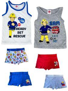 Feuerwehrmann Sam - Jungen Unterwäsche-Set Fireman Sam, 2x Unterhemden + 4x Boxershorts in Blau/Weiß/Rot/Grau - Vorteils Package - , Größe:110/116