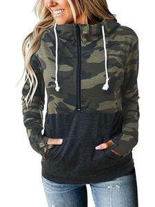 FrauenReißverschluss Hooded Sweatshirt Top Camouflage Pullover,Farbe: Armee grüne Tarnung,Größe:L