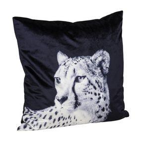 Premium Kuschelkissen Samtkissen mit Leoparddesign und Füllung, Farbe: schwarz 45x45cm