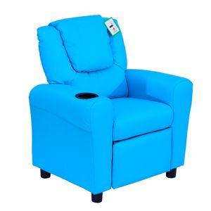 HOMCOM Kindersessel, Minisessel, Kindersofa für 3-6 Jahre alt, Liegefunktion, Eingebauten Becherhalter, Blau, 62 x 56 x 69 cm