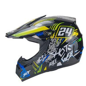 Hot-Shot Crosshelm für Kinder blau Motocrosshelm Helm Kinderhelm Endurohelm XS