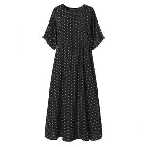 ZANZEA Damenmode Rundhals Kurzarm Kleid Kaftan Langer Gepunktet Pocket Beach Partykleid, Farbe: Schwarz, Größe: 2XL