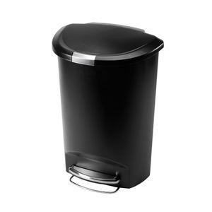 simplehuman 50 Liter halbrunder Treteimer, schwarzer Kunststoff - 12,1x12,1x47 cm; CW1355