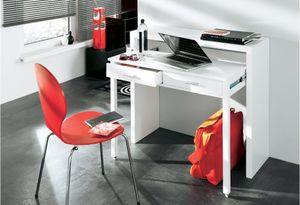Home Innovation - Ausziehbarer Schreibtisch, Studio-Konsolentisch, Computertisch, PC, 2 Schubladen, Oberfläche glänzendes Weiß, Maße: 98,6x86,9x36- 70 cm Tiefe