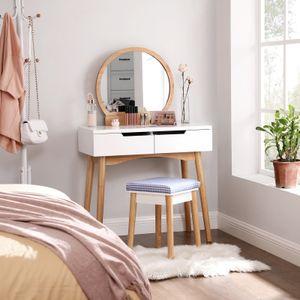 SONGMICS Schminktisch mit Spiegel und Hocker Frisiertisch mit 2 Schubladen 80 x 128 x 40 cm Kosmetiktisch weiß und naturfarben RDT11K