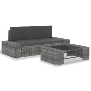 vidaXL 3-tlg. Garten-Lounge-Set Poly Rattan Grau