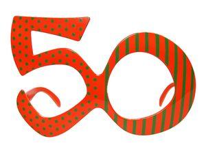 Partybrille Brille Spaßbrille 50. Geburtstag orange/grün