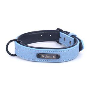 Grenzueberschreitende heisse neue Haustierhalsband Mikrofaser Kunstleder Schriftzug Kragen benutzerdefinierte Hundehalsband Anti-verlorene Marke Kragen blau