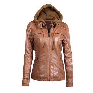 Damen Faux Leder Kapuzenjacke mit Reissverschluss Hoodie Kurzer schlanker Motorrad Jackenmantel Lederjacken [braun-M]