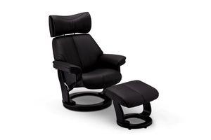 Ibbe Design Schwarz Leder Drehbar XXL Relaxsessel mit Hocker und Manuell Verstellbar Relaxfunktion Stressless Fernsehsessel Toledo, 80x93x108 cm
