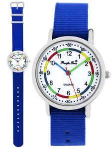 Pacific Time Kinder Armbanduhr Jungen Mädchen Lernuhr Wechselarmband royalblau