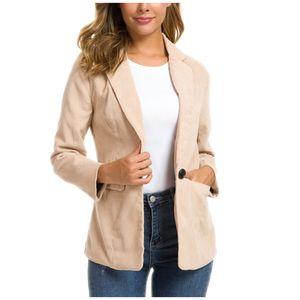 Frauen Winter Cord Anzug Jacke Damen Turn-Down Kragen Mantel Outwear Cardigan Größe:S,Farbe:Beige