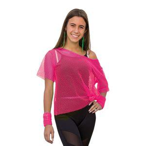 Oblique Unique Netzshirt Netztop Damen Netz Hemd Oberteil 80s 80er Jahre Kostüm Motto Party Größe 38 - 42 - neon pink