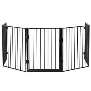 Juskys Metall Kaminschutzgitter 300 x 76 cm klappbar – Schutzgitter für Tiere – 5 Elemente inkl. Tür – Laufgitter Absperrgitter Tiergitter