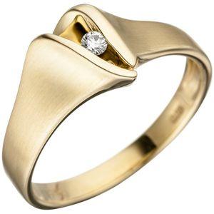 JOBO Damen Ring 62mm 585 Gold Gelbgold matt 1 Diamant Brillant Goldring Diamantring