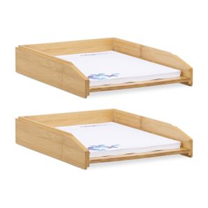 relaxdays 2 x Dokumentenablage stapelbar Holzablage A4 Büro Briefablage Schreibtischablage
