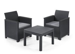Keter Balkon-Set Emma 5-teilig - graphit , 2 Sessel + 1 Tisch + 2 Sitzauflagen