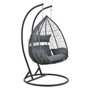Hängesessel Capileira 2-Sitzer Outdoor Hängestuhl mit Gestell und Kissen Hängekorb bis 250 kg Dunkelgrau