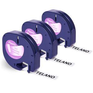 3x Telano 12267 kompatibel Etikettenband als Ersatz für Dymo Etikettenband transparent Kunststoff, schwarz auf transparent (S0721550) für Dymo LetraTag LT-100H LT-100T/110T XR - Clear Plastic Band 12mm x 4m