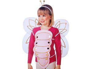 Mädchen Schmetterling Kostüm Set 3tlg Kinder rosa Fasching Karneval Käfer Karnevalskostüm