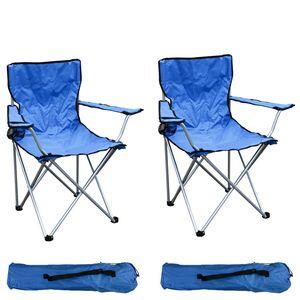 2-er Set Anglersessel mit Getränkehalter und Tasche Blau belastbar bis 120kg