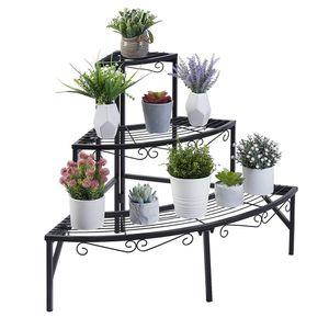 WISFOR Blumentreppe Ecke Blumenregal Metall Pflanzentreppe mit 3 Ebenen für Balkon Garten Wohnzimmer