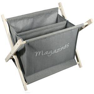 Holz Zeitungsständer Stoff Grau 2 Fächer H32xB37xT26cm