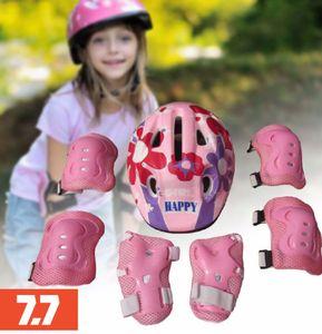 7pcs  Kinder Roller Skating Fahrradhelm Knie Handgelenkschoner Ellbogenschoner Set(1 * Helm,2 * Knieschützer,2 * Ellenbogenpolster,2 * Handgelenkschützer)