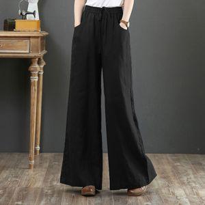 ZANZEA Damen Stoffhosen Elastische Taille Langhose Weites Bein Hose Freizeithose, Farbe: Schwarz, Größe: M
