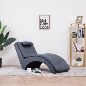 Massage Relaxliege mit Kissen | Wohnzimmer Liegesessel | Modern Relaxsessel | Liegestuhl | Sofaliege | Polsterliege | Grau Wildleder-Optik und Holzrahmen mit Stahlbeinen 145x54x72cm