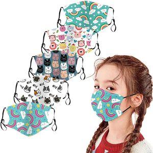 5 Stück Kinder-Mundschutz mit motiv Cartoon Druck, Waschbar Wiederverwendbar, Mit 10 Stück PM2.5 Ersatz Maskenfilter Aktivkohlefilter
