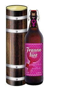 Frauen Bier - 1 Liter Flasche mit Bügelverschluss in der Geschenkdose im Holzdesign