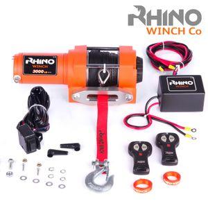Rhino 1360kg/3000lb Elektrische Seilwinde mit Fernbedienung und Mobilteil, Kunststoffseil/Synthetikseil | 12V | für ATV, Quad & Bootsanhänger