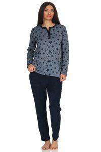 Damen Frottee Pyjama Schlafanzug Sterne als Motiv - auch in Übergrößen bis Gr. 60/62, Farbe:marine, Größe:44/46