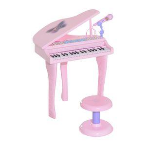 HOMCOM Kinder Klavier Mini-Klavier Piano Keyboard Musikinstrument MP3 USB inkl. Hocker 37/32 Tasten Rosa