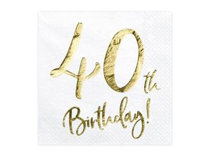 20 Servietten Geburtstag 40 weiß-gold