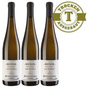 Weißwein Rheinhessen Gewürztraminer Weingut Becker Hüttberg trocken ( 3 x 0,75)