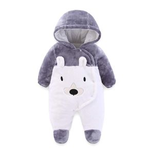 Baby Fleeceoverall Unisex Flanell Jumpsuit Neugeborene Strampler Winter Outfit 0-3 Monate, Grau