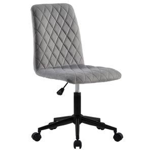 Rollhocker Bürostuhl aus Stoff Samt grau Schreibtischstuhl Drehhocker Drehstuhl
