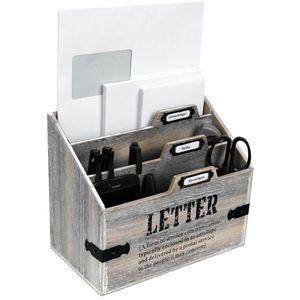 Wohaga® Schreibtischorganizer LETTER mit 3 Holztaschen - Braun/Weiß