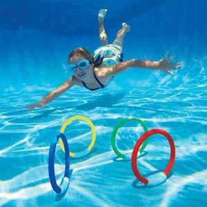 Miixia Tauchringe 4er Set Unterwasser tauchen Spielzeug Tauchspielzeug Tauchspiel
