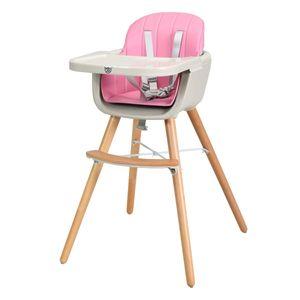 GOPLUS Babyhochstuhl Holz, Kinderhochstuhl mit 5-Punkt Sicherheitsgurt, Treppenhochstuhl Baby-Fuetterungsstuh Kombihochstuhl Holzhochstuhl Kinder Rosa