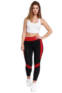 Damen Sport Leggings Stretch Hose Streifen Treggings Gold Muster, Farben:Rot, Größe:L-XL