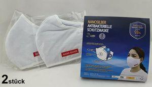 2er Pack Alltagsmaske100 % Baumwolle NANOSILBER Waschbar 3lagig Antimikrobiell