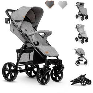 Lionelo ANNET  Kinderwagen grau concrete Baby Buggy aus 100% Leinen mit Gummireifen, Fußsack und Fliegennetz