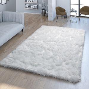 Wohnzimmer Hochflor Teppich Kunst-Fell Design Versch. Formen Unifarben, In Weiß, Größe:120x170 cm