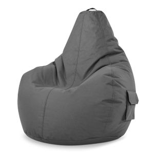 Green Bean © Cozy Beanbag - Gaming Sitzsack 80x70x90 cm mit 230 Liter EPS Perlen Füllung - wasserbaweisend, waschbar, robust - Grau